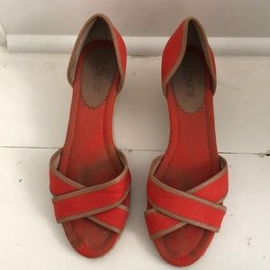 Jcrew Red Fabric Espadrilles Size 7
